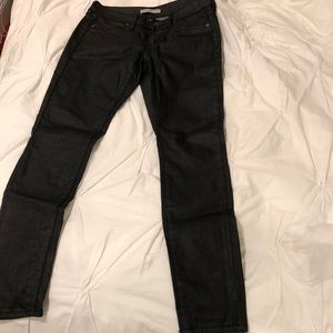 """Wax """"faux leather"""" stretch jeans."""